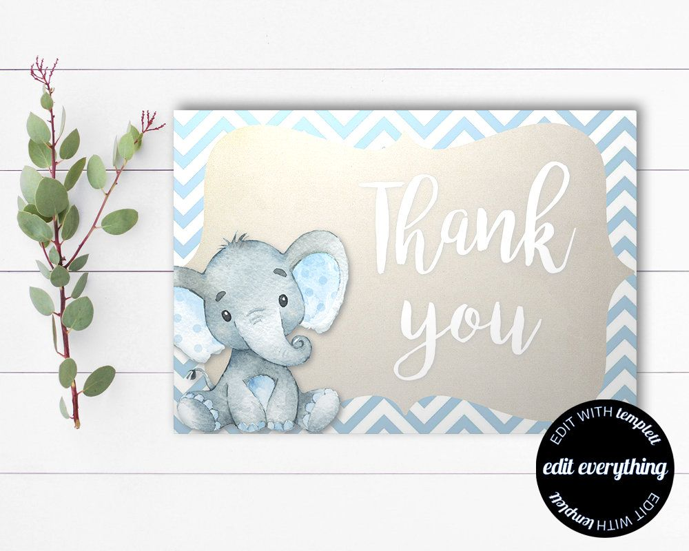 Elephant Thank You Card Thank You Template Printable Thank Etsy Thank You Cards Cards Baby Shower Thank You