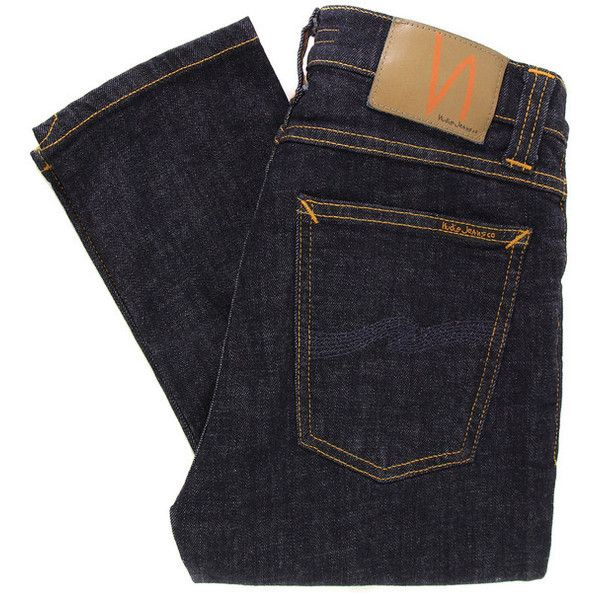 Nudie High Kai Organic Twill Skinny Navy Jeans ($140) ❤ liked on Polyvore