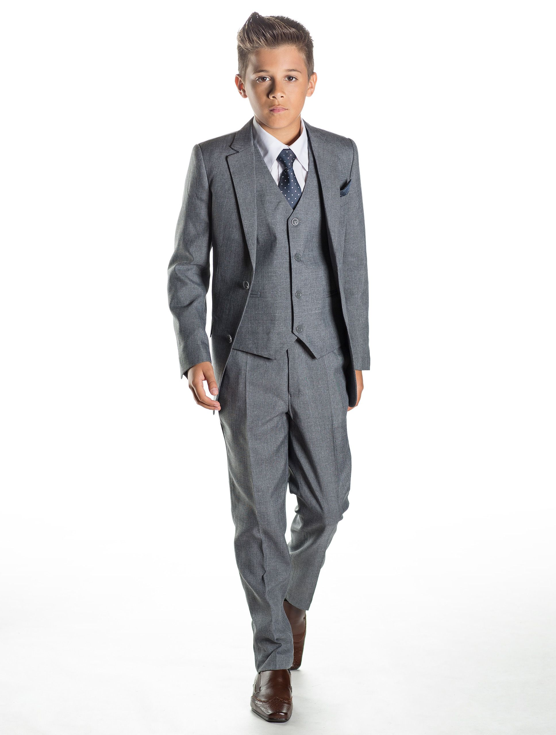 A light grey slim fit boys suit which complements the build, using ...
