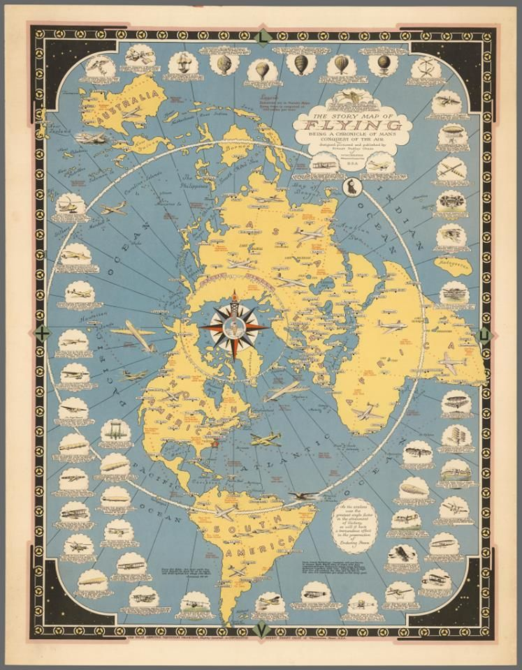 Rand McNallyu0027s World Map for the Air Age 1942 Maps eye to history - best of simple world map flat