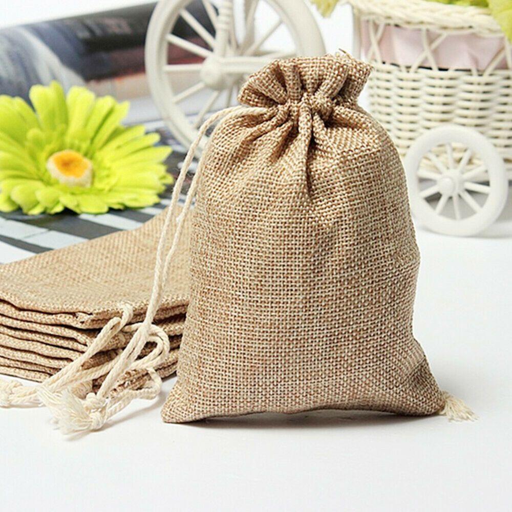 60pcs Small Linen Jute Hessian Drawstring Pouch Gift Bags Wedding Favor Sack