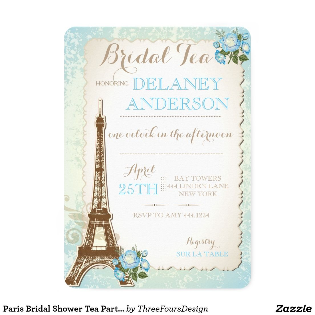 Paris Bridal Shower Tea Party Invitation  Tea Party Invitiation