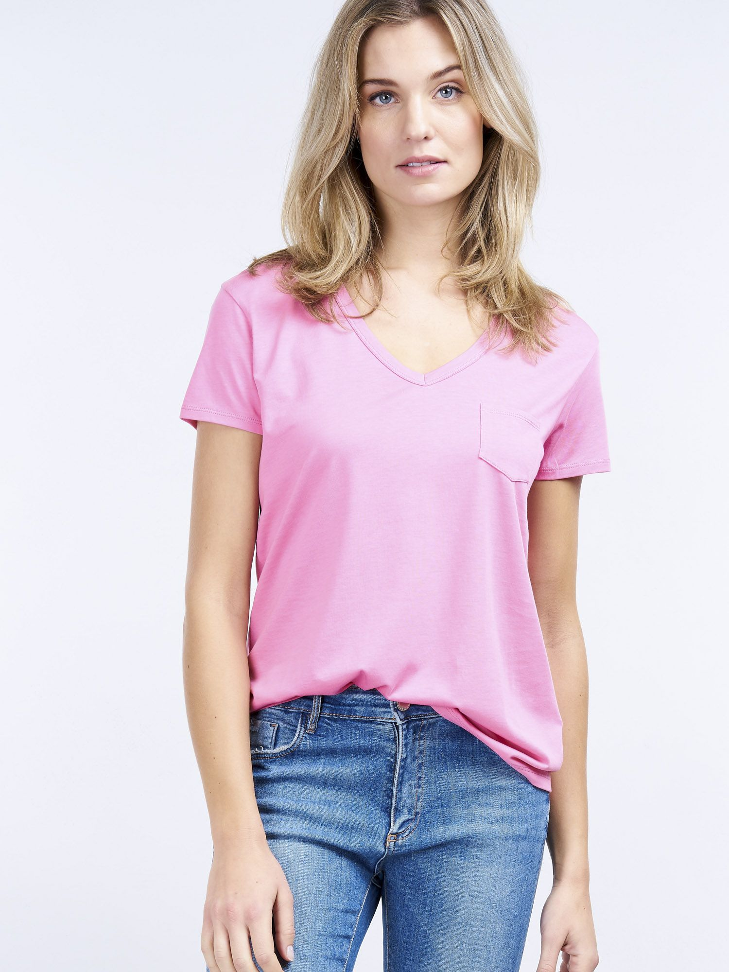REPEAT Women Women's basic V neck T shirt with chest
