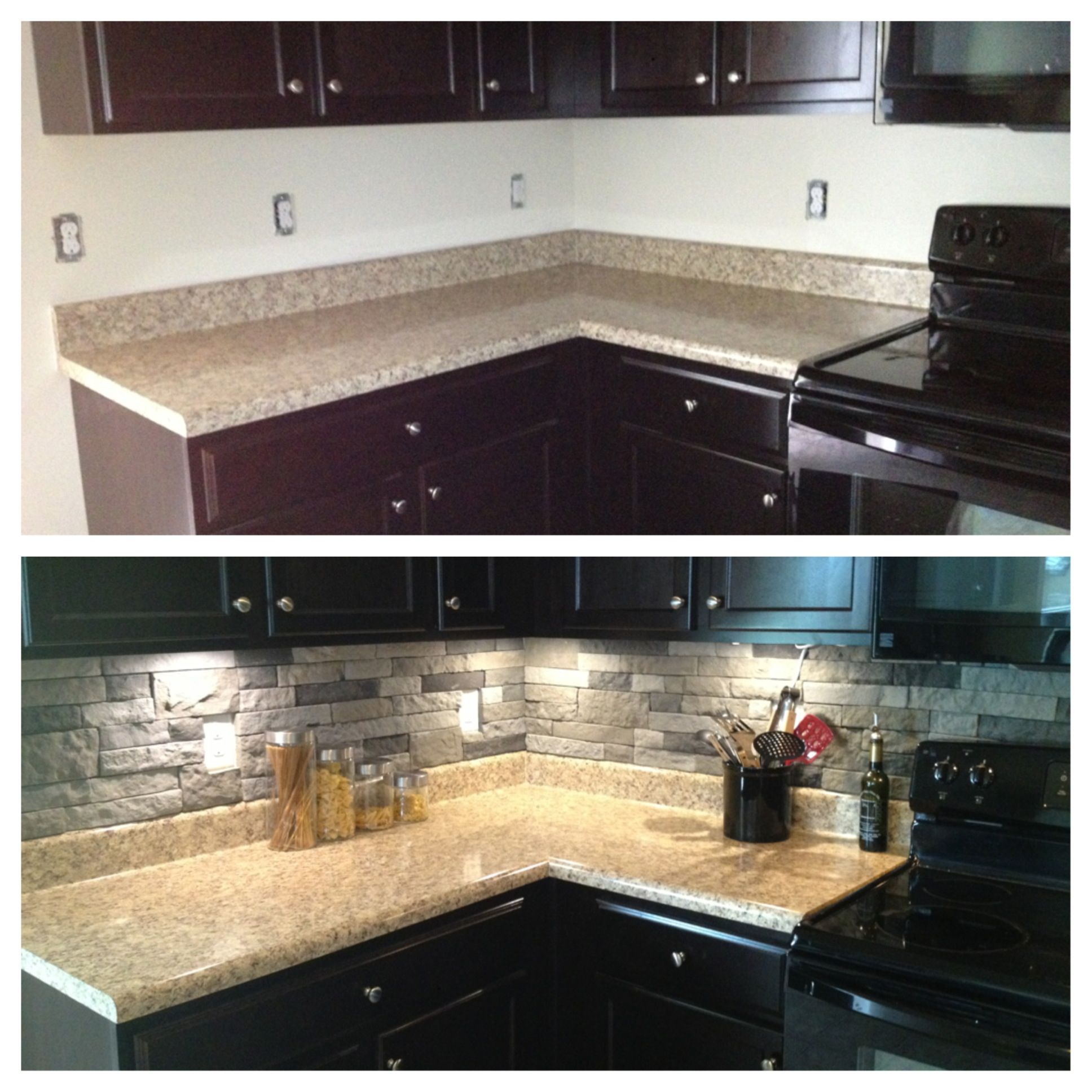 Aspect 6 x 24 inch autumn sandstone peel and stick stone backsplash - I Really Like The Black Cabinets And Gray Stone Wall But The Beige Countertop Not So Much