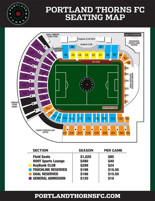Portland Thorns Fc Seating Map Timbers