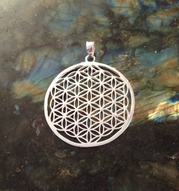 Silver flower of life pendant sterling silver plated sacred silver flower of life pendant sterling silver plated sacred geometry necklace silver jewellery egyptian flower of life jewelry mozeypictures Gallery