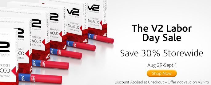 http://ReviewVapor.com Shop #V2Cigs on Aug 29-Sept 1 for 30% savings on every item in the store. Pick up a 20-pack of the Limited Edition V2 Mint Chocolate Truffle and pay just $24.46, marked down from its original price of $34.95. Discount is applied at checkout. Not applicable to #V2 Pro. #eCigs #eCigarettes #Vapor #Vaporizers #coupons #Discounts #V2CigsCoupons #VaporCouture