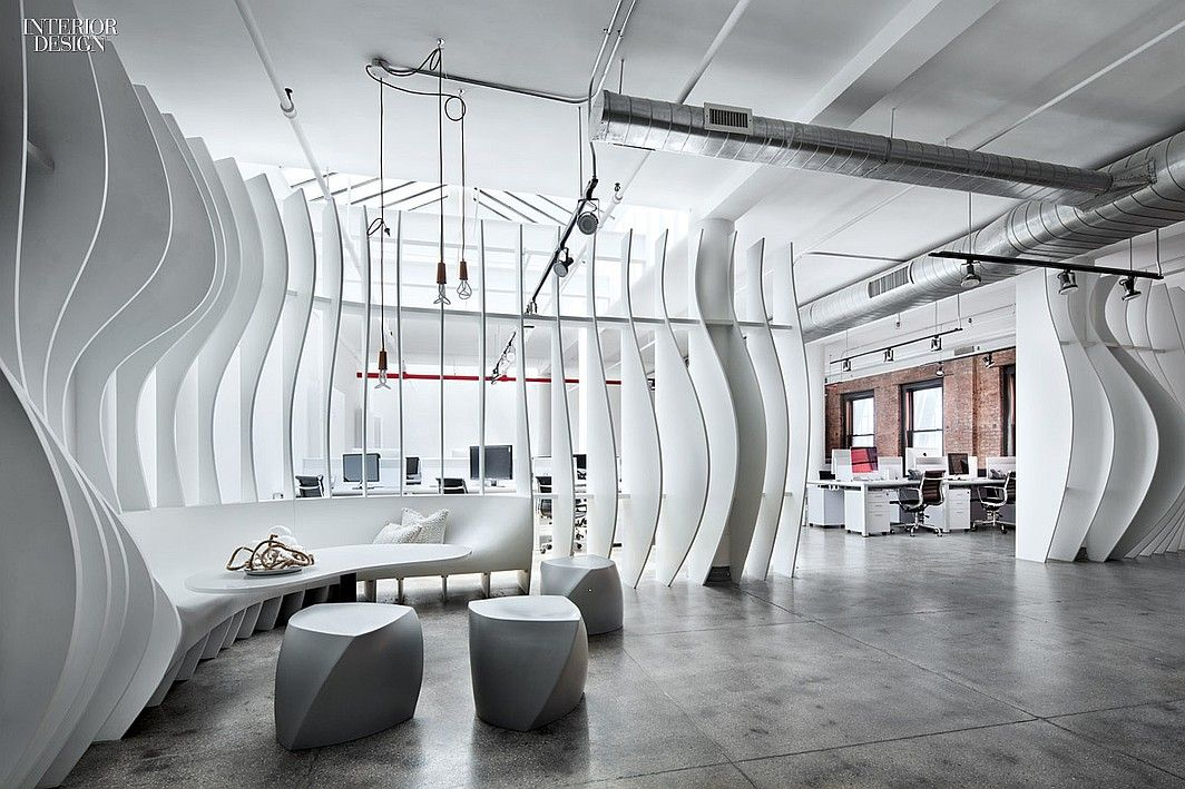 Fins Of Laser Cut Painted Birch Plywood Wrap The Lounge Inside Valtechs NYC Headquarters Office Interior DesignArchitecture DesignOffice
