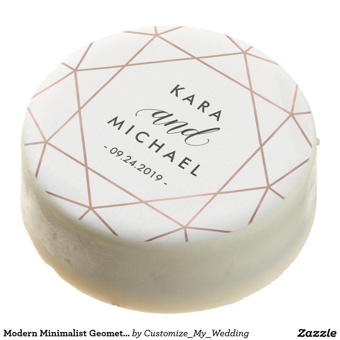 Modern Minimalist Geometric Pink and White Wedding Chocolate Covered Oreo
