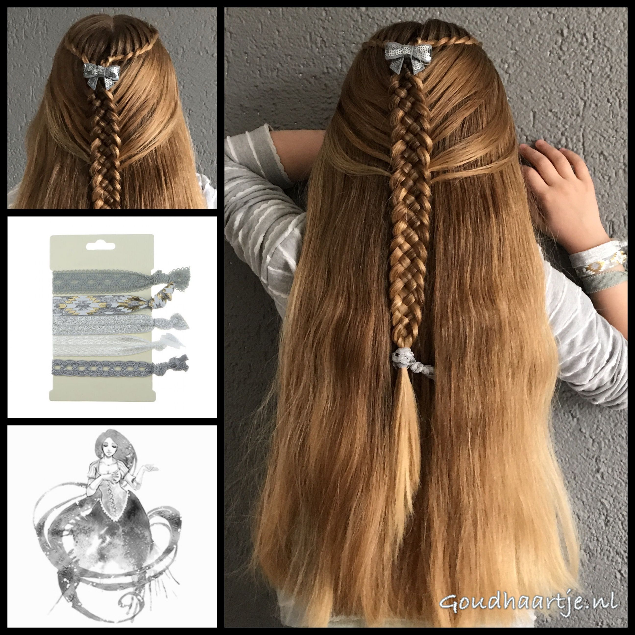 Waterfall twist braid into a five strand dutch braid with a cute bow