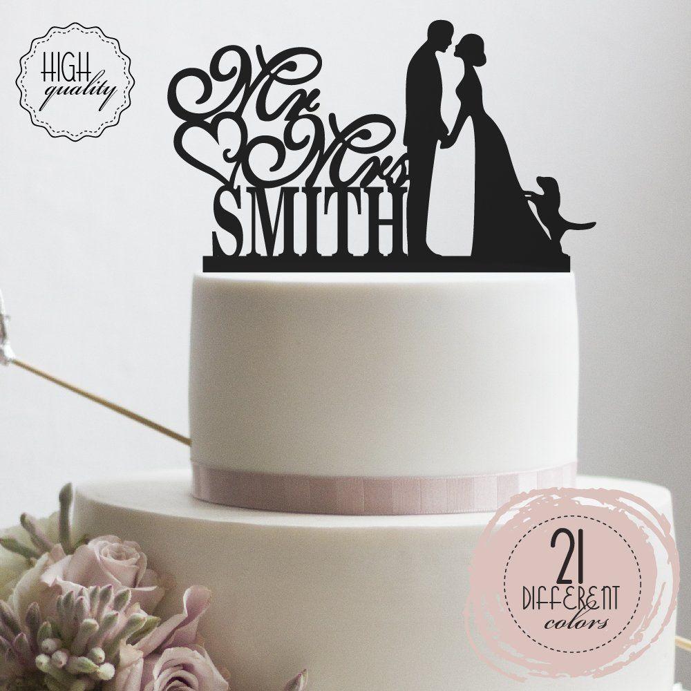 Groom Bride and Puppy Wedding Cake Topper Custom Made Wedding Favor ...