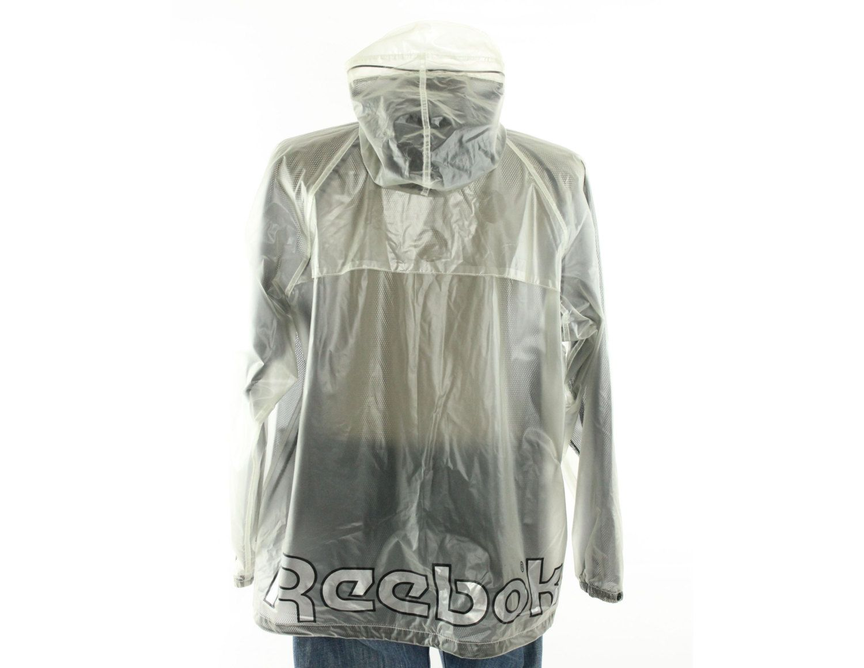 95 Vintage 90s Reebok Raincoat Slicker Hooded Clear