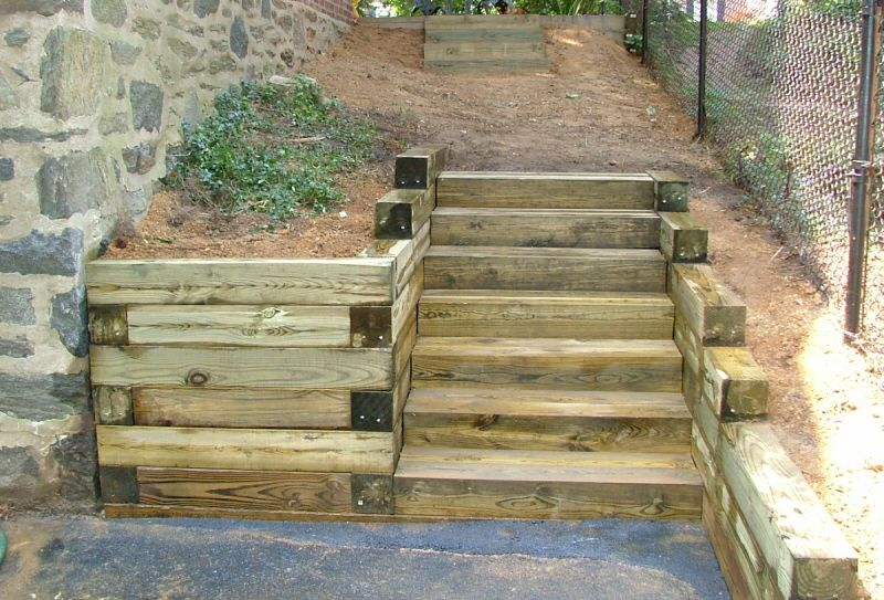 Railroad Tie Steps & Retaining wall | Garden stairs, Small
