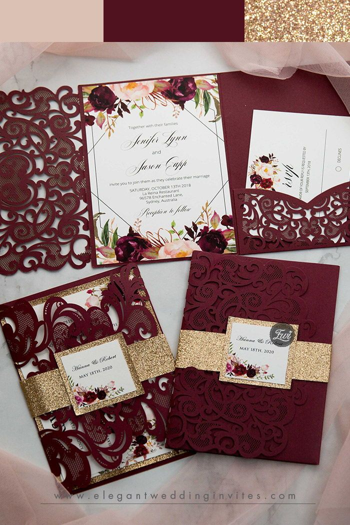 burgundy laser cut pocket fold and burgundy floral wedding invitations with glittery belly band EWWS267 as low as .19