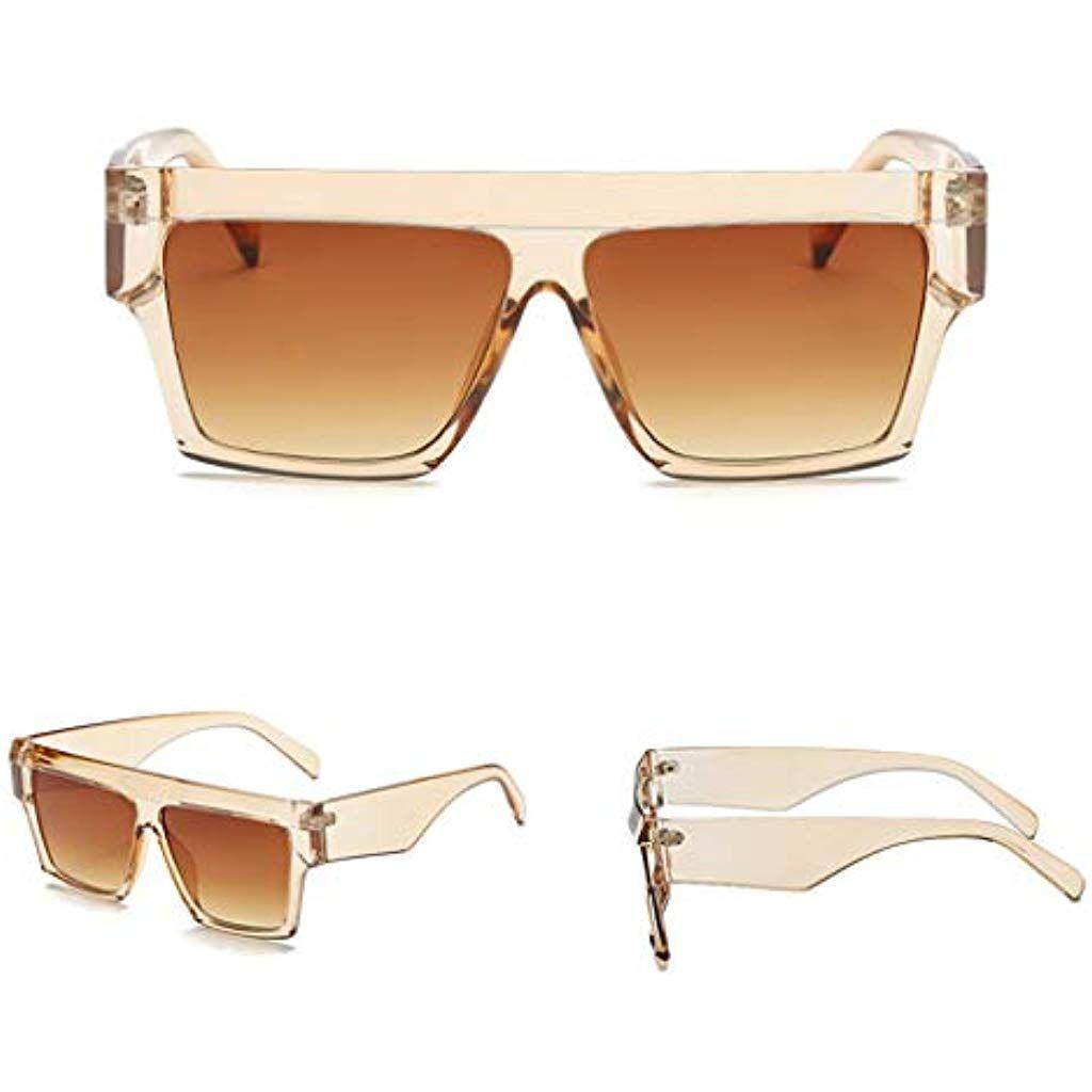 ef6bd39e3 Yanhonin Lunettes De Soleil Carrées Shades Mirror Eyewear Style Rétro Grand  Cadre Lunettes De Soleil Oversize