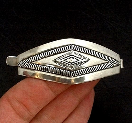 Vintage Native American Sterling Silver Hair Barrette Clip