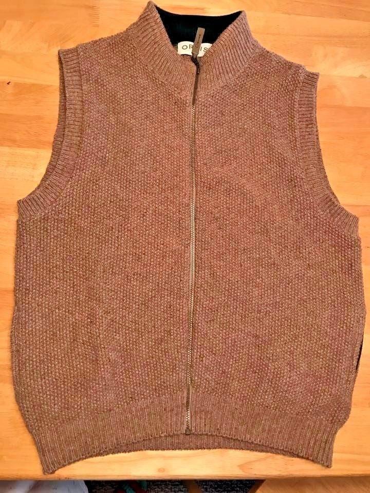 Orvis Sweater Vest Mens Size XL Medium Knit Wool Blend Zip up ...