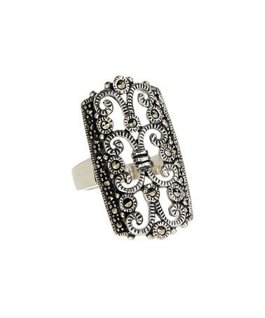 This Marcasite & Sterling Silver Art Deco Filigree Ring is perfect! #zulilyfinds
