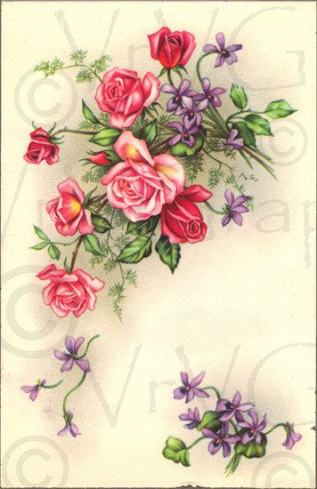 Victorian Pink Roses Purple Flowers ShaBby Vintage French ...