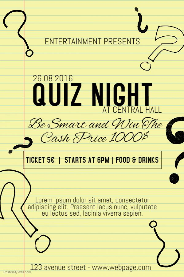 quiz night poster  flyer  pamphlet template