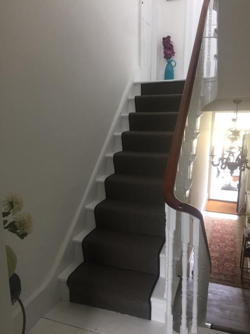 Best Grey Carpet To Stairs With Black Whipping Stair Runners 640 x 480