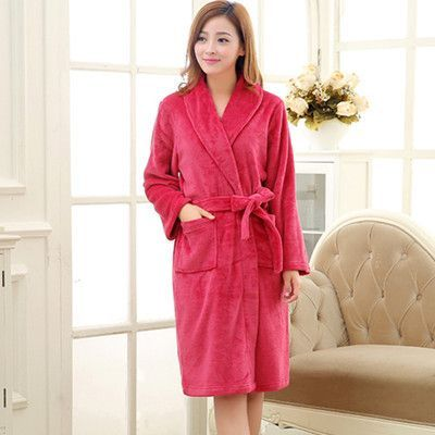 6bf8b3a940 On Sale Men Women Luxury Winter Bathrobe Mens Warm Silk Flannel Long Kimono  Bath Robe Male Bathrobes Lovers Night Dressing Gown