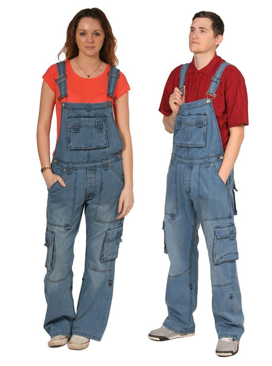 3dea293c858 Cargo Pocket Bib Overalls for Men Women Unisex Light Wash Jean Bibs at  Amazon Men s Clothing store