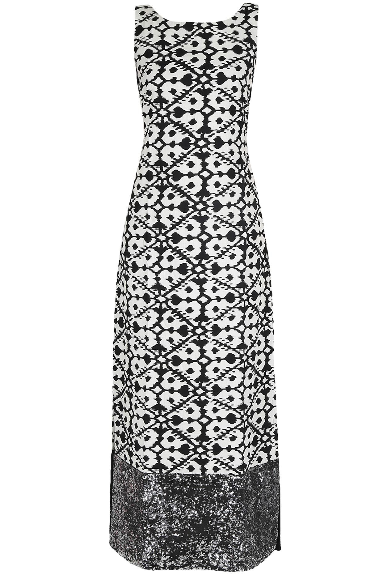 QUENCH Black and white ikat straight maxi dress available only at ...