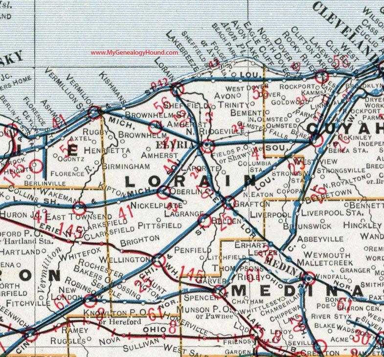 Lorain County Ohio 1901 Map Elyria Oberlin Amherst Wellington