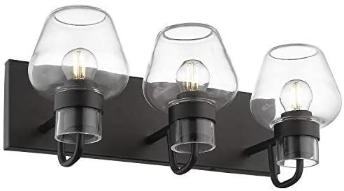 Photo of Bathroom washbasin lights, Beionxii 3-Light Industrial Black washbasin lights, black with brandy glass – Brandy Glass series