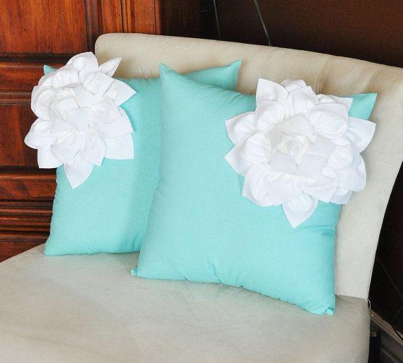 Two Decorative Pillows White Corner Dahlia On Aqua Blue Tiffany Pillow Etsy 66 00