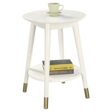 """Wilson Mid Century Round End Table - White - Convenience Concepts : Target for $89 , 24"""" h x 17"""" round"""