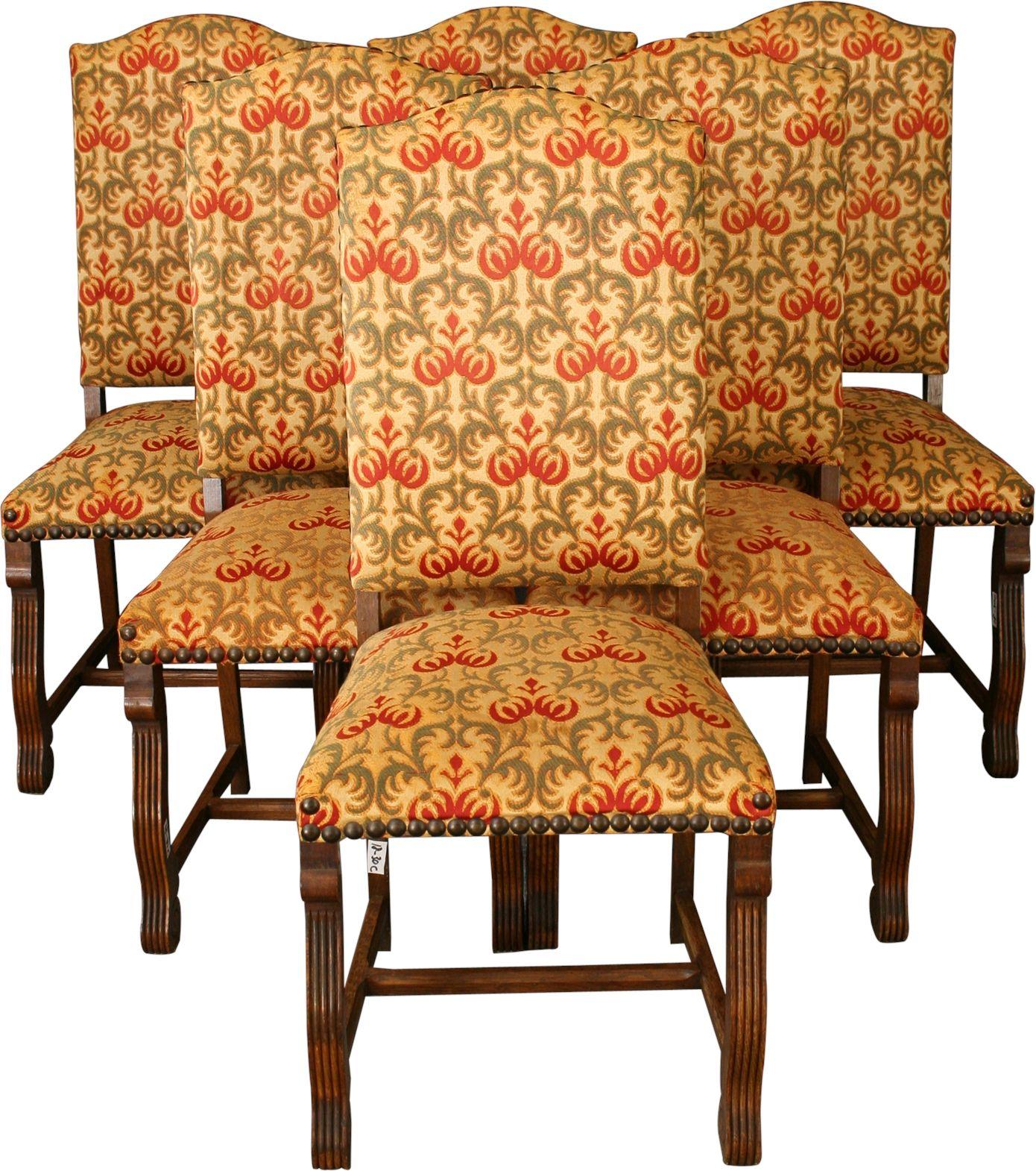 Vintage Dining Chairs Renaissance Style Set 6 Oak 1950