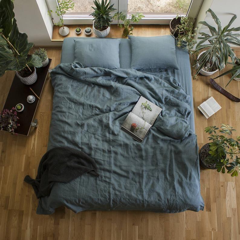 Blue linen Duvet Cover, Linen quilt cover,Linen Du