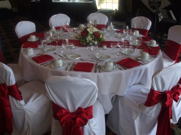 Red White Indoor Reception Spring Summer Wedding Reception
