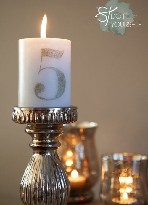 Diy Tissue Paper Transfer Candle Table Number Candles Diy Candle Centerpieces Wedding Table Numbers