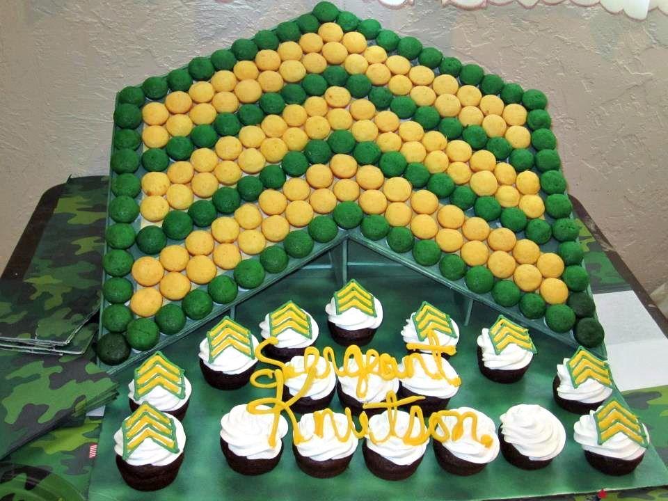 Fantastic 3 D Sergeant Symbol Cupcake Display Done By Goodies Displays Funny Birthday Cards Online Inifodamsfinfo