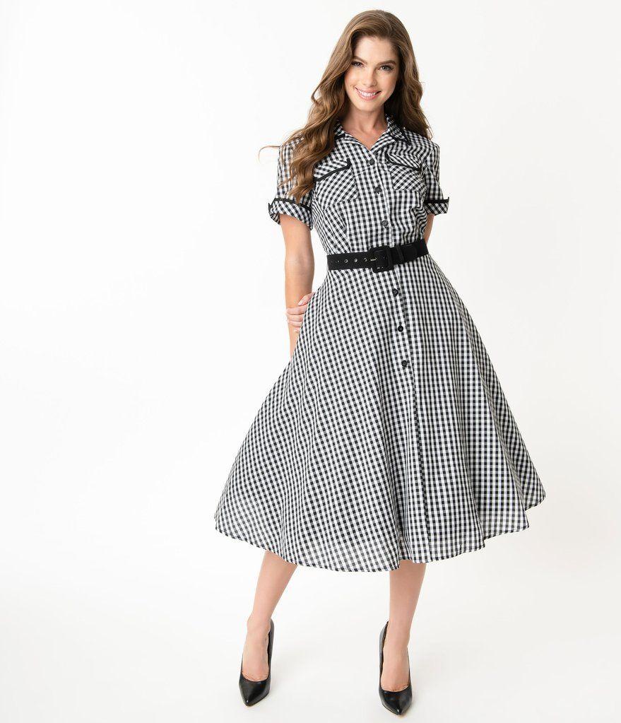I Love Lucy X Unique Vintage Black White Gingham Ethel Swing Dress Gingham Fashion Plus Size Vintage Dresses Swing Dress [ 1023 x 879 Pixel ]