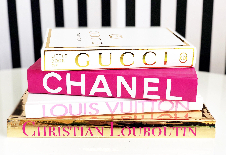 4 Book Pyramid Pink Gold White Designer Book Set Gucci Dior Coco Chanel Christian Louboutin Luxury Home Decor Bo Pink Books Book Decor Gold Bookshelf [ 2060 x 3000 Pixel ]