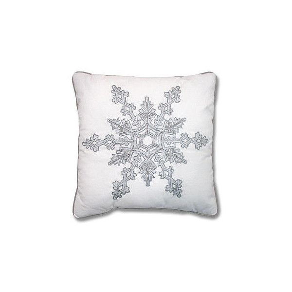 Snowflake Decorative Pillow - Silver/White - Home - Home Decor -... ($12) ❤ liked on Polyvore featuring home, home decor, throw pillows, white home accessories, white toss pillows, white home decor, silver throw pillows and silver accent pillows