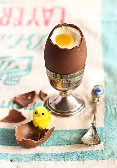 Cheesecake Filled Chocolate Easter Eggs by raspberri cupcakes, via Flickr