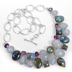 Necklaces – Moonstone labradorite Amethyst NecklaceMCHJ-N-7085 – a unique product by Midas-Jewelry on DaWanda
