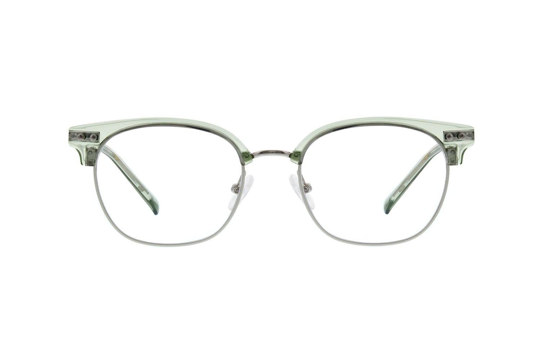 d20457eb4fd Zenni Retro Browline Prescription Eyeglasses Green Mixed Materials ...
