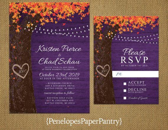 Rustic Purple Fall Wedding Invitation Oak Tree Leaves Carved Heart Initials Burnt Orange Fairy Light Printed