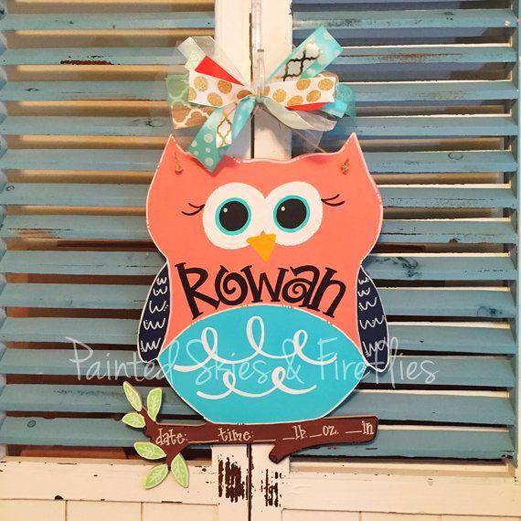 Beautiful Owl Door Hanger Hospital Door Hanger Girl By Paintedskyfirefly