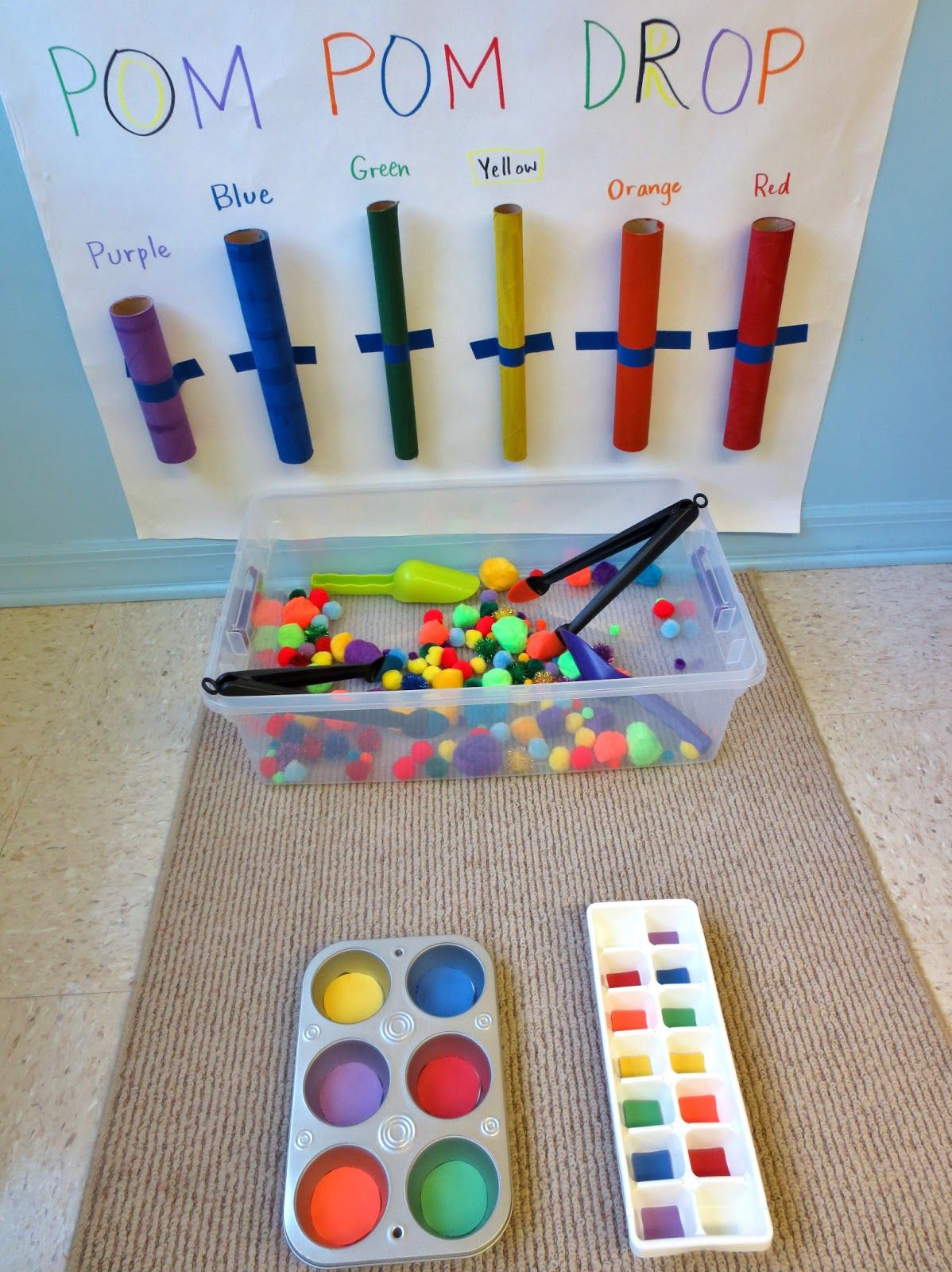 reflective calendar in the preschool room came across some great ideas for pompom drops on - Colour Games For Preschool