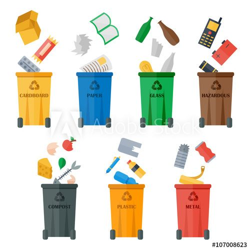 Colored Garbage Cans With Waste Types Vector Recycling Save