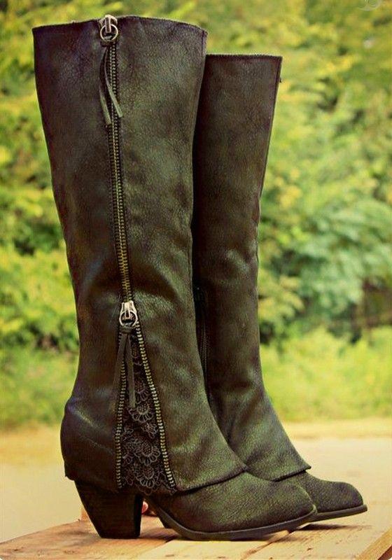 Army Grün Runde Zehe Chunky Spitze Reißverschluss Mid-Calf Beiläufige  Stiefel Damen 6a6d7680e0