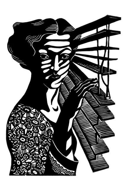 "Natalia Moroz 'Moonlit', 2003 Linoleum Print Open Edition. This reminds me a bit of Bette Davis in ""The Letter""..."