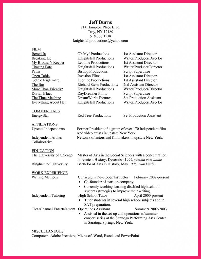Top 20 Production assistant Resume | Cover letter for resume ...